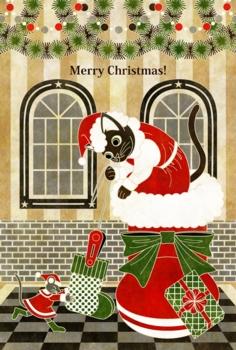 クリスマスカード用イラスト(猫と鼠「靴下発見!」)MERRYCHRISTMAS白線
