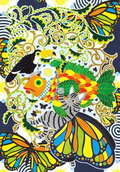 植物魚と猫蝶とオニオオハシ主線フルカラー