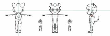 基本型2.5頭身三面図