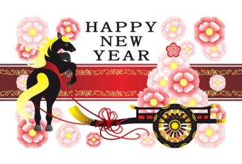 2014年午年完成年賀状テンプレート(おしゃれ花車と黒馬)HAPPYNEWYEAR