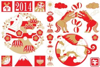 2014年午年年賀状用イラスト素材(和風イラスト赤白茶)3種類セット