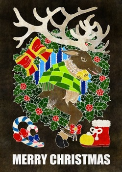 クリスマスカード用イラスト(トナカイとクリスマスリース)黒地白線