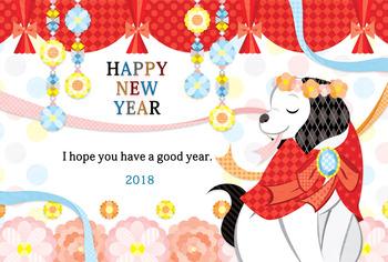 2018年戌年完成年賀状無料テンプレート(FLORAL DOG HAPPY NEW YEAR)一般年賀状