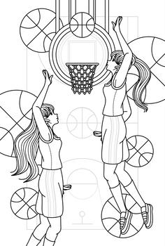 バスケットボール女子男子線画2