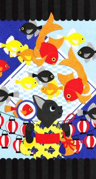 iPhonewallpaper,イラスト,デザイン,猫,かわいい,金魚,夏,夏祭り,動物,壁紙