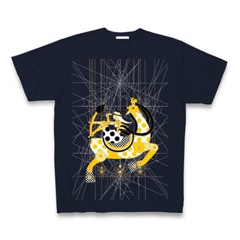蜘蛛の糸マリオネット木キリンと少女(Spider's thread marionette wooden giraffe and girl) ClubTオリジナルTシャツ Pure Color Print(ネイビー)