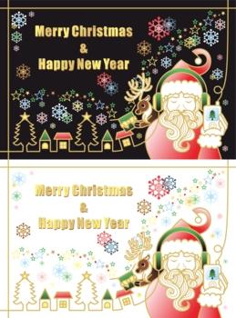 【12月】クリスマス用イラスト「音楽を聴くサンタクロースとトナカイのプレゼント」2パターンセット