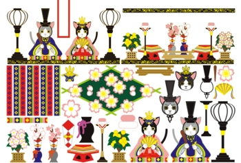【3月】「3月3日雛祭り和風猫のお雛様雛人形」イラスト素材集