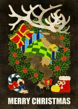 クリスマスカード用イラスト(トナカイとクリスマスリース)黒地茶線