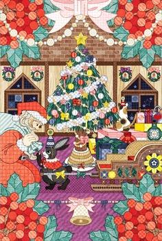何か赤と白で毛の生えた生き物がいる…(クリスマスイラスト)Art Print / MINI