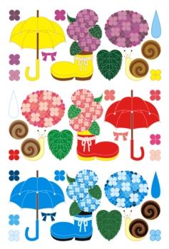 梅雨雨季「紫陽花と傘と蝸牛」イラスト素材集