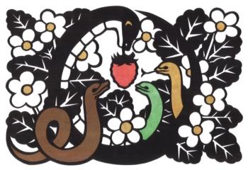 2013年巳年年賀状用イラスト素材(蛇苺切り絵)