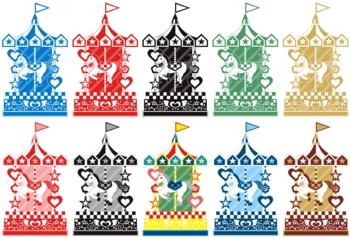 2014年午年年賀状用イラスト素材(回転木馬メリーゴーランド)カラフル10点セット