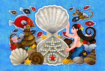 人魚と春(青地)(2012年辰年年賀状用イラスト素材)