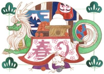 辰年年賀状用デザイン手描き