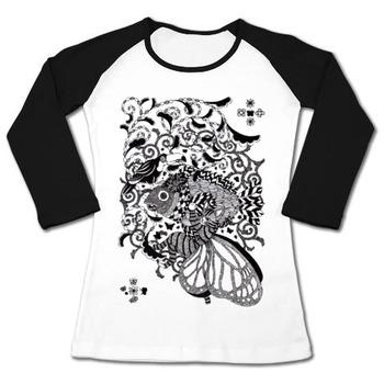 植物魚と猫蝶とオニオオハシペン画(Pen drawing Plant fish and Butterfly cat and Toco toucan)