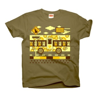 CAT ROAD AND CAT BUS Tシャツ黄色2