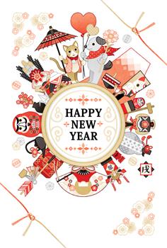 2018年2030年戌年完成年賀状テンプレート「和風犬猫カップルとおめでたい縁起物たち金銀赤黒」HAPPY NEW YEAR