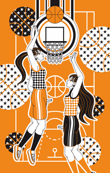 iPhone5用のカバーデザインバスケットボール女子