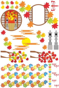 秋用和風イラストカットデザインイメージ素材集(楓・灯篭・赤蜻蛉・和風丸窓枠)