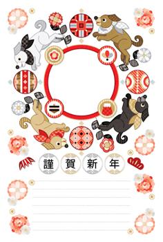 2018年戌年完成年賀状テンプレート「花と毬と犬の輪写真フレーム」謹賀新年