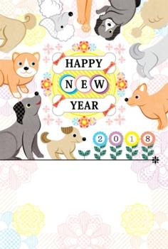 2018年戌年完成年賀状テンプレート「花と犬集合カラフル」HAPPYNEWYEAR