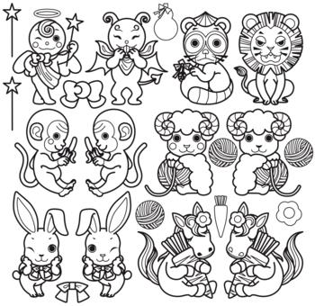 天使と悪魔と動物キャラクター(狸・ライオン・猿・羊・うさぎ・馬)モノクロ線画ぬりえ