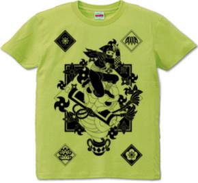忍者と蛇と手裏剣・和風モノクロTシャツ
