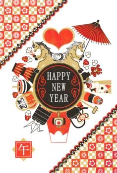 2014年午年完成年賀状テンプレート(和風馬のカップルと縁起物)HAPPYNEWYEAR