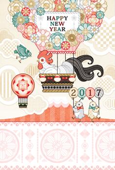 2017年酉年完成年賀状テンプレート「花気球お洒落」HAPPYNEWYEAR