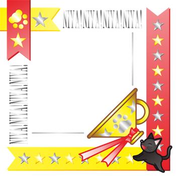 1コピースペースメッセージイラストフレームデザイン飾り枠素材「猫の抗議」EPS(ベクターデータ)/透過PNG