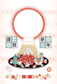 2016年申年完成年賀状テンプレート「梅富士山と猿達磨」謹賀新年写真フレーム