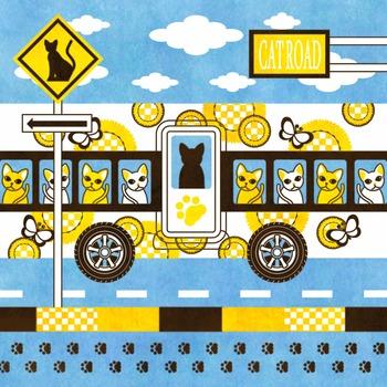 「CAT ROAD AND CAT BUS」iPad用壁紙(Retinaディスプレイ対応2048×2048JPEG)