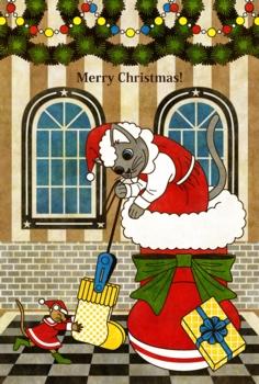 クリスマスカード用イラスト(猫と鼠「靴下発見!」)MERRYCHRISTMASカラフル<br>