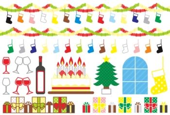 【12月】クリスマス用イラストカット素材集(靴下・飾りつけ・ワイン・ケーキ・クリスマスツリー・プレゼント)カラフル