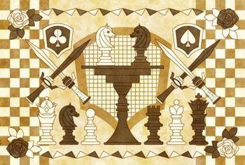 午年年賀状用イラスト素材「チェス」乗算