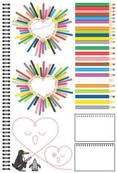 コピースペースワンポイントカットイラストデザイン素材「ペンギンの親子ハート型色鉛筆スケッチブック」カラフル