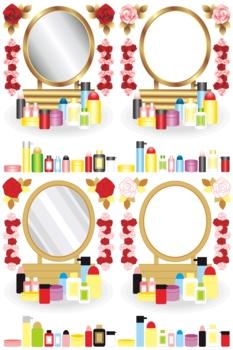 鏡台と化粧品と薔薇の花イラストカットデザインイメージ