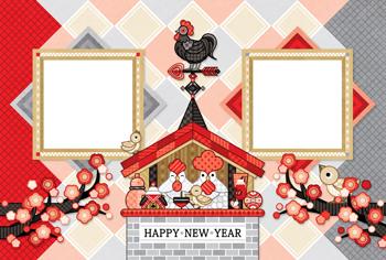 2017年酉年完成年賀状テンプレート「鶏家族と風見鶏写真フレーム」HAPPY NEW YEAR