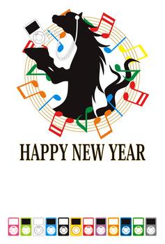 2014年午年完成年賀状テンプレート(馬シルエットとiPod風音楽プレーヤー)HAPPYNEWYEAR