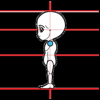 グレイ型宇宙人三面図完成3