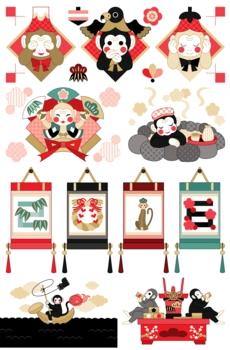 2016年申年年賀状用イラストカットデザイン素材集(三猿・扇・岩風呂・掛け軸・釣り・祝酒)赤系配色6点