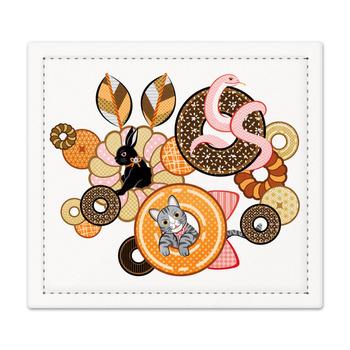 動物とドーナッツ(リメイク)Animal and doughnut (Remake)捺印マット