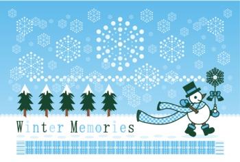 ポストカードサイズイラスト「冬の雪達磨雪の魔法」Winter Memories