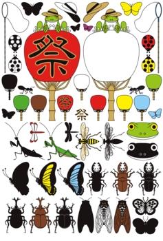 蛙と団扇と昆虫「蝶・蝉・甲虫・鍬形虫・蜂・螳螂・蜻蛉・蟻・天道虫」夏のイラスト素材集