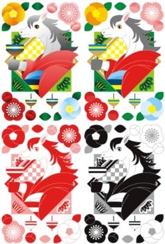 2014年午年年賀状用イラスト素材(馬と和服と独楽)デジタル4点セット