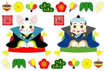 福猫人形と福助人形(年賀状用イラスト素材)