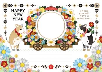 2021年2033年丑年イラスト年賀状デザイン「牛と花車フレーム枠」HAPPY NEW YEAR