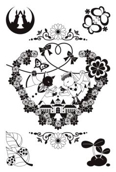 【6月】猫と鳥のカップル結婚式イラストモノクロ