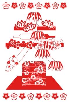 2013年巳年年賀状用イラスト素材(春赤1色)